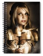 Romantic Blonde Woman Holding The Light Of Love Spiral Notebook
