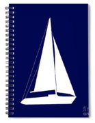 Sailboat In Navy And White Spiral Notebook