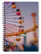 Santa Monica Pier Ferris Wheel And Roller Coaster At Dusk Spiral Notebook