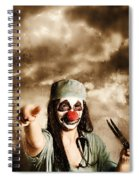 Scary Clown Doctor Throwing Knives Outdoors Spiral Notebook