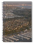 Seattle Skyline With Shilshole Marina Along The Puget Sound  Spiral Notebook