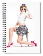 Sexy Brunette Pin Up Girl In Pink Retro Fashion Spiral Notebook