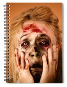 Shocked Horror Halloween Zombie With Hands Face Spiral Notebook
