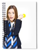 Shocked Woman With Ideas Of Business Innovation Spiral Notebook