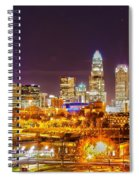 Skyline Of Uptown Charlotte North Carolina At Night Spiral Notebook