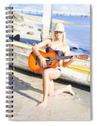Smiling Girl Strumming Guitar At Tropical Beach Spiral Notebook