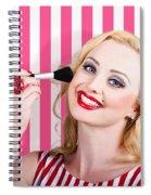 Smiling Makeup Girl Using Cosmetic Powder Brush Spiral Notebook
