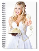 Smiling Woman With Retro Telephone Spiral Notebook