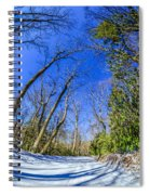 Snow Covered Road Leads Through The Wooded Forest Spiral Notebook
