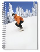Snowboarder Going Down Snowy Hill Spiral Notebook