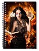 Sorcerer Casting Black Magic Spells Of Fire Spiral Notebook