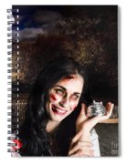 Spooky Girl With Silver Service Bell In Graveyard Spiral Notebook