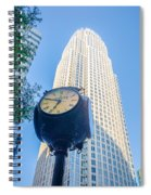 Standing By The Clock On City Intersection At Charlotte Downtown Spiral Notebook