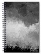 Storm Clouds Over A Cornfield Bw Spiral Notebook