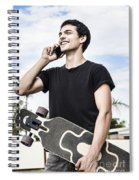 Student Talking To A Friend On Mobile Smartphone Spiral Notebook