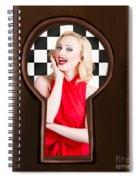 Stylish Surprised Women Portrait. Pinup Secret Spiral Notebook