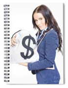 Successful Business Woman Holding Bags Of Money Spiral Notebook