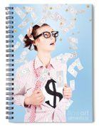Successful Female Business Superhero Winning Money Spiral Notebook