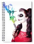 Sugar Skull Girl Blowing On Smoking Gun Spiral Notebook