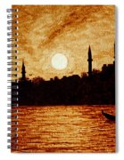 Sunset Over Istanbul Original Coffee Painting Spiral Notebook