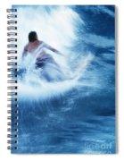 Surfer Carving On Splashing Wave, Interesting Perspective And Blur Spiral Notebook
