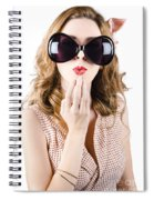 Surprised Beautiful Pin-up Girl. White Background Spiral Notebook