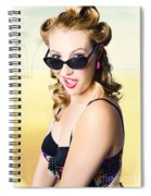Surprised Pinup Girl On Tropical Beach Background Spiral Notebook