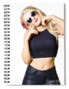 Surprised Pinup Woman Isolated On White Spiral Notebook