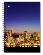 The Moon And Venus Over Honolulu Spiral Notebook