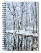 Tree Line Reflections In Lake During Winter Snow Storm Spiral Notebook