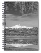 Twin Peaks Longs And Meeker Lake Reflection Bw Spiral Notebook