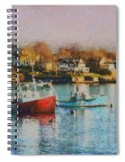 Two Lobster Boats On Marblehead Harbor With A Red Sky Spiral Notebook