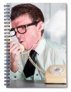 Unhappy Nerd Businessman Yelling Down Retro Phone Spiral Notebook