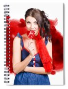 Valentines Day Woman Eating Heart Candy Spiral Notebook