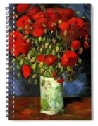 Vase With Red Poppies Spiral Notebook