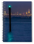 Verrazano-narrows Bridge And Nyc Skyline From Port Monmouth Spiral Notebook