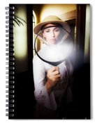 Vintage Archaeologist With Large Magnifying Glass Spiral Notebook