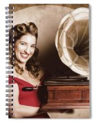 Vintage Pin-up Girl Listening To Record Player Spiral Notebook