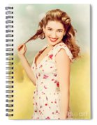 Vintage Pinup Woman With Pretty Make-up And Hair Spiral Notebook