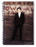 Vintage Salesman Standing In Front Of Brick Wall Spiral Notebook