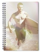 Vintage Surfer Running With His Board In Surf Spiral Notebook