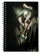 Vintage Undercover Spy On Dark Background Spiral Notebook