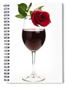 Wine With Red Rose Spiral Notebook