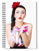 Woman Blowing Feathers Spiral Notebook