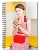 Woman Drinking Coconut Milk In Kitchen Spiral Notebook