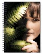 Woman Hiding Behind Fern Leaf Spiral Notebook