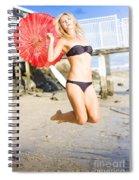 Woman In Bikini Jumping Spiral Notebook
