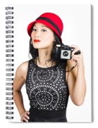 Woman With An Old Camera Spiral Notebook