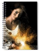 Woman With Angle Grinder Spraying Sparks Spiral Notebook