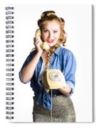 Woman With Retro Telephone Spiral Notebook
